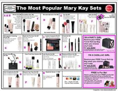 The most popular Mary Kay sets! Print out, laminate, and bring to your parties for your guest to check out!! angiealdaco@gmail.com