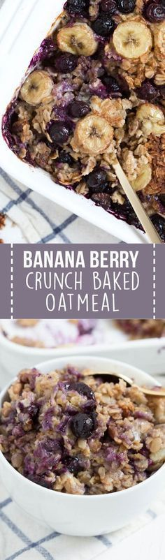Banana Berry Crunch Baked Oatmeal is a simple, healthy and delicious way to start your day! This easy recipe is made with coconut milk, rolled oats, fresh bananas, berries and maple syrup.