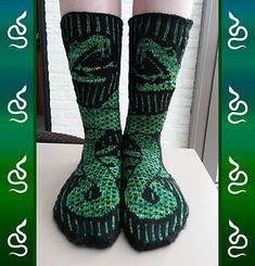 Ravelry: The Basilisk pattern by Ingrid Carré Loom Knitting, Knitting Socks, Baby Knitting, Free Knitting, Crochet Socks, Knit Crochet, Knitted Slippers, Knit Socks, Crochet Granny