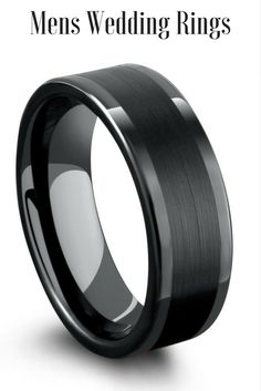 Mens Wedding Bands! Black tungsten carbide mens ring with brushed center and polished edges. I love the pipe cut design of the ring.