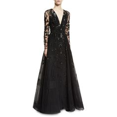 Zuhair Murad Floral-Beaded Long-Sleeve V-Neck Ball Gown ($9,455) ❤ liked on Polyvore featuring dresses, gowns, black, long sleeve beaded gown, beaded evening gowns, deep v neck gown, floral evening dresses and low v neck dress