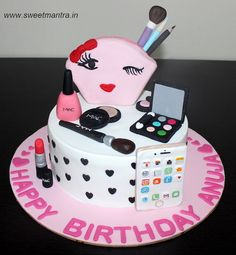 Makeup overload theme customized fondant cake with 3D purse, makeup items, golden rose iphone for wife's birthday at Pune