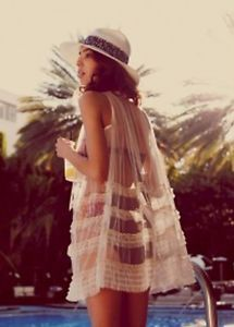 Very Pretty Free People Ruffled Mesh Sheer Tunic with Ribbons