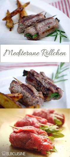 Mediterranean beef fillet rolls- Summer, sun, barbecue – how about Mediterranean rolls ? Tender fillet of beef with a filling of fresh arugula, melted parmesan and aromatic serano ham. I could not look so fast as the … - Easy Smoothie Recipes, Snack Recipes, Plancha Grill, Beef Fillet, Good Food, Yummy Food, Grilled Vegetables, Greek Recipes, Grilling Recipes