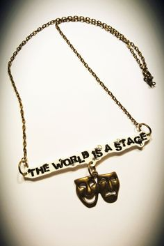The World is a Stage Shrink Plastic Necklace by CorrenAlyssa on Etsy Shrink Plastic, Handmade Design, Stage, Bronze, Chain, Pendant, Gifts, Etsy, Jewelry
