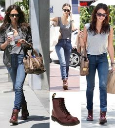 Jessica Alba wears Doc Martens boots in 2017. These british boots are still trendy since 1990. Now they are worn by men and women.