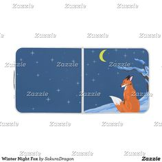 Winter Night Fox Pong Table #fox #foxes #animals #snow #moon