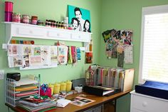I love this office/crafting area because you can tell it's definitely organized... While at the same time it's obviously a much-used & much-loved space in the home :)