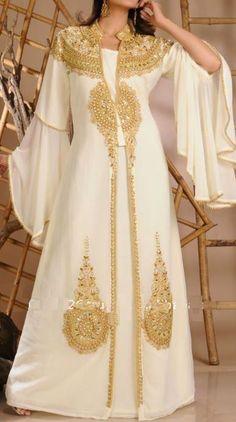 white and gold abaya