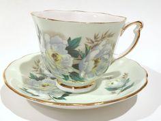 Pale Green Colclough Tea Cup and Saucer, Green Tea Cups, English Teacups, Tea Set, Vintage Tea Cups, Antique Teacups,  Bone China Tea Cup
