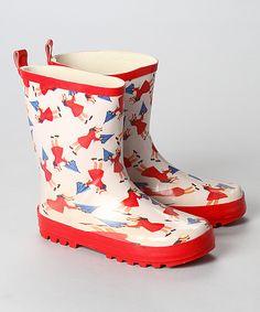 white umbrella girl rain boot