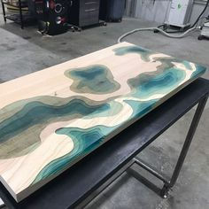 Out of the mold and sanded flat 😎 wip design contour map metal metalfab woodandsteel woodandmetal woodwork wood woodworking… Resin Furniture, Recycled Furniture, Custom Furniture, Wood Resin Table, Wooden Tables, Woodworking Wood, Woodworking Projects, Diy Epoxy, Live Edge Wood