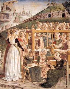 Allegory of March: Triumph of Minerva (detail) by Francesco del Cossa, c. 1480