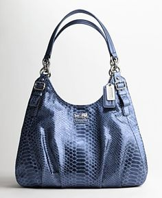 Saw this in a outlet store last year, and the color was really interesting; there was a nice depth to it.  Coach Madison embossed Python Maggie shoulder bag.