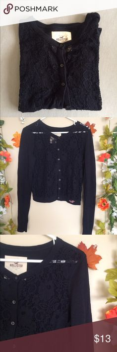 Hollister dark blue sweater *hollister brand *size medium *dark blue with floral lace on front Hollister Sweaters Cardigans