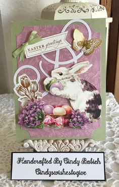 Easter Card / Made with Anna Griffin Vintage Bunny Diecuts and Fancy Flourish Dies : Handcrafted By Cindy Babich (cindyswishestogive 2018)
