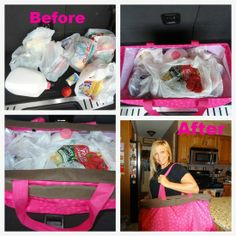 Thirty One - Use large utility tote to get groceries in ONE TRIP! I use my tote for every trip.  You can carry TONs of groceries in one of these things....