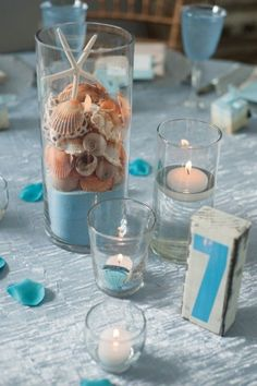 starfish candle centerpieces for beach wedding - Deer Pearl Flowers