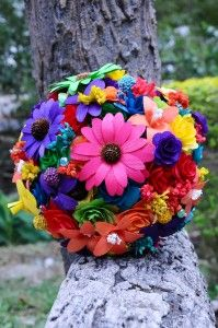 Rainbow Wood Wedding Bouquet - if you go to this site and look at the close up, it's good to see all the different elements in this!