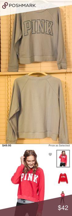 "PINK Varsity Crew Light Blue Sweatshirt NWT PINK Varsity Crew Light Blue Sweatshirt - Medium. * it is similar to the red stock photo but NOT ""vintage wash"". PINK Victoria's Secret Tops Sweatshirts & Hoodies"