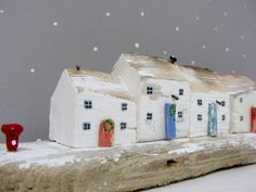 Christmas driftwood cottage sculpture with two by Beyondthecowshed