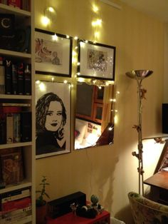 My mirror/painting/print and lights collage
