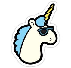 Unicorns Are Cool Pattern - Blue Stickers
