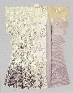 "Kimono with yuzen-zome pattern "" Autumnal Tints in Saga Field"" by Hata Tokio, Japanese National Living Treasure"