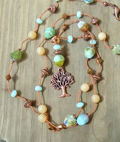 Bohemian Necklace Hand Knotted Necklace Family Tree by BohoStyleMe