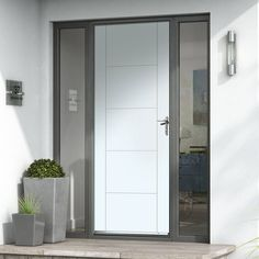 Extreme Weather Tigris White Door - Lynn Home Composite Front Doors Uk, Contemporary Doors, Modern Door, Grp Doors, Exterior Front Doors, External Doors, Aluminium Doors, Facades, Puertas