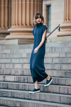Long dress with slip-ons