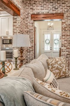 Southern House Plans, Southern Homes, French Country House Plans, Acadian House Plans, Interior Design Living Room, Living Room Decor, Brick Interior, Brick Accent Walls, Estilo Country