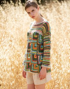 Book Woman Sport 92 Spring / Summer | 32: Woman Sweater | Green-Yellow-turquoise-Rose / Beige-Off-white