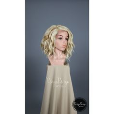 Platinum Blonde Wig Long Bob Wavy Lace Front Wig Strawberry Lowlights... ($71) ❤ liked on Polyvore featuring bath & beauty, grey, hair care and wigs