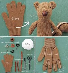 diy, glove, recycling, squirrel