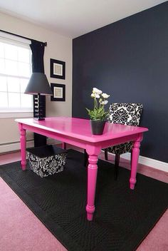 Paint a cheap table in bright color.