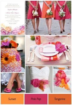 Pink And Orange Wedding Theme — Wedding Ideas, Wedding Trends, and Wedding Galleries Pink Wedding Colour Theme, Orange Wedding Themes, Orange And Pink Wedding, Wedding Color Schemes, Tangerine Wedding, Orange Pink, Sunset Wedding Theme, Magenta Wedding, Orange Weddings