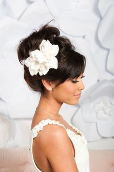 Velvet flower fascinator - Iris - Tessa Kim Shop (fasciantor headpiece ivory velvet) - Lover.ly
