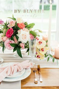 Gold, pinks and bubbly too, this tea time soiree is positively lovely. Rose Gold Cutlery, Glass Conservatory, Tea Party Bridal Shower, Glass Candlesticks, Beautiful Candles, Glass House, Rose Bouquet, Table Centerpieces, Flower Decorations