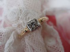 14K Diamond Ring     Circa 1940