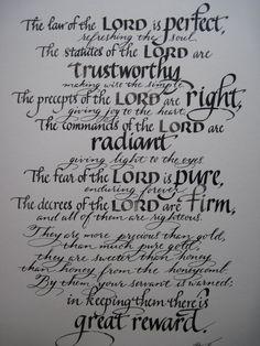 Scripture Art, Psalm 19 7 - 11, Bible Verses, Pastor Appreciation, Church Art, Hand Lettered Calligraphy 11 x 14 Print on Heavy Art Paper
