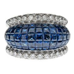 """Mystery Set"" Sapphire Diamond Platinum Ring"