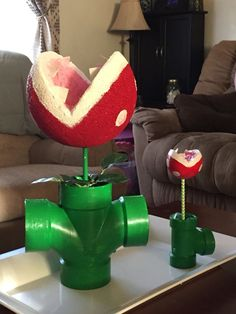 My chomper flowers! Perfect for the Mario cart birthday party!