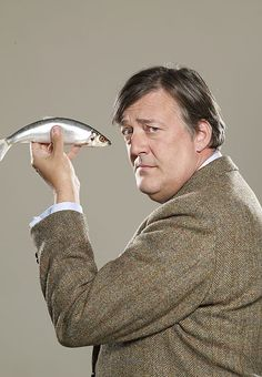 Stephen Fry does not look well with a fish-eye