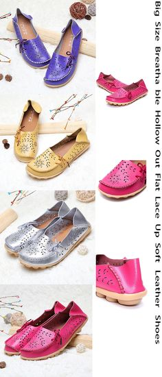 9ab8861d59d Socofy Large Size Breathable Hollow Out Flat Lace Up Soft Leather Shoes is  cheap and comfortable. There are other cheap women flats and loafers online.