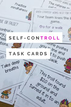 Self-control activities for kids. Help students practice self-control strategies with these self-control task cards. Students will read different realistic self-control scenarios and decide which how they would respond and which coping strategies to use. Elementary School Counselor, School Counseling, Elementary Schools, Counseling Activities, Therapy Activities, Activities For Kids, Impulse Control, Future School, Social Emotional Learning