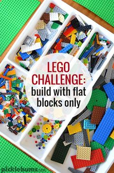 Flat Lego Challenge - what would your kids build if they could only use flat pieces? All You Need Is, Lego Challenge, Challenge Ideas, Lego Activities, Creative Activities, Lego Club, Lego Builder, Lego Design, Building For Kids