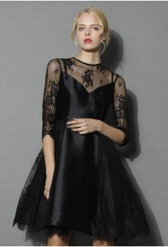Charming Queen Lace Flare Dress in Black - Retro, Indie and Unique Fashion