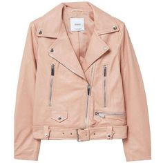 Leather Biker Jacket (870 BRL) ❤ liked on Polyvore featuring outerwear, jackets, rider leather jacket, motorcycle jacket, pink biker jackets, lined leather jacket and moto jacket