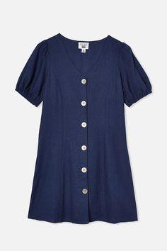 Luna Short Sleeve Dress Navy Shorts, Shirt Dress, T Shirt, Indigo, Size 10, Short Sleeve Dresses, Boys, Girls, Casual